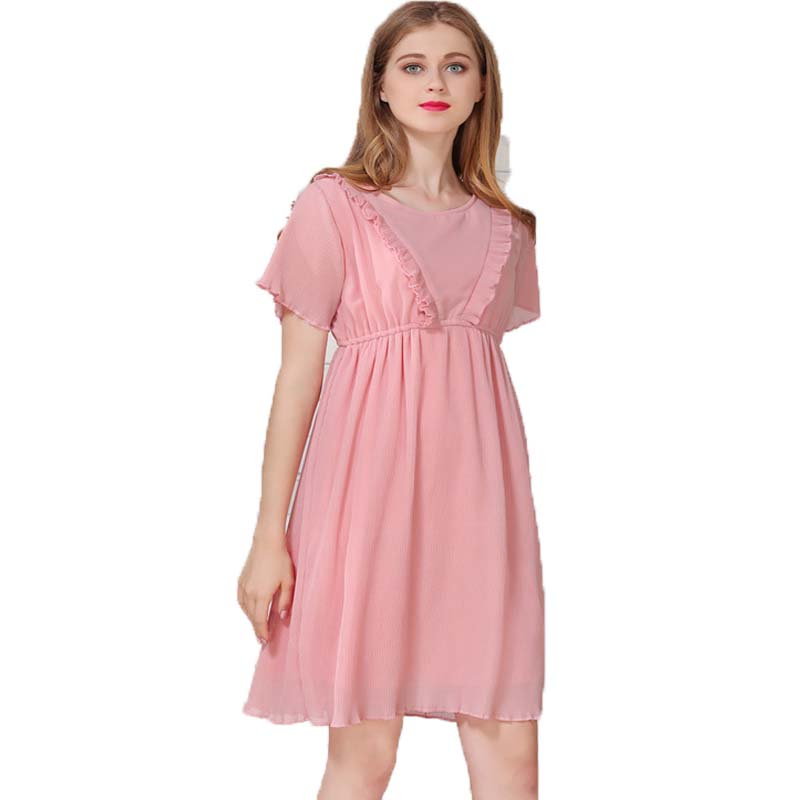 Fashion Maternity Dress Postpartum Lactation Pink Nursing Dress Breastfeeding Maternity Wear CasualO-neck ChiffonPregnancy Dress ...