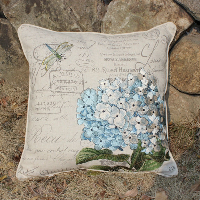 VEZO HOME Embroidered Blue Hydrangeas Floral Dragonfly Linen Sofa Gorgeous Hydrangea Decorative Pillows