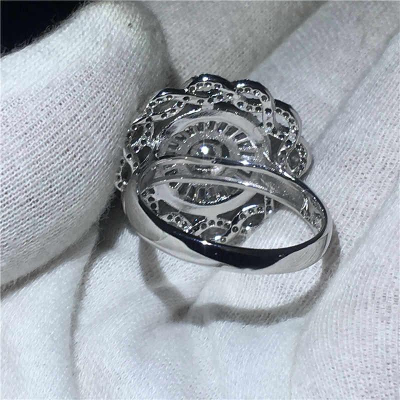 Choucong หญิงแหวนดอกไม้ขนาดใหญ่ 5A Zircon CZ 925 เงินสเตอร์ลิงแหวนหมั้นแหวนผู้หญิงผู้ชายเครื่องประดับ