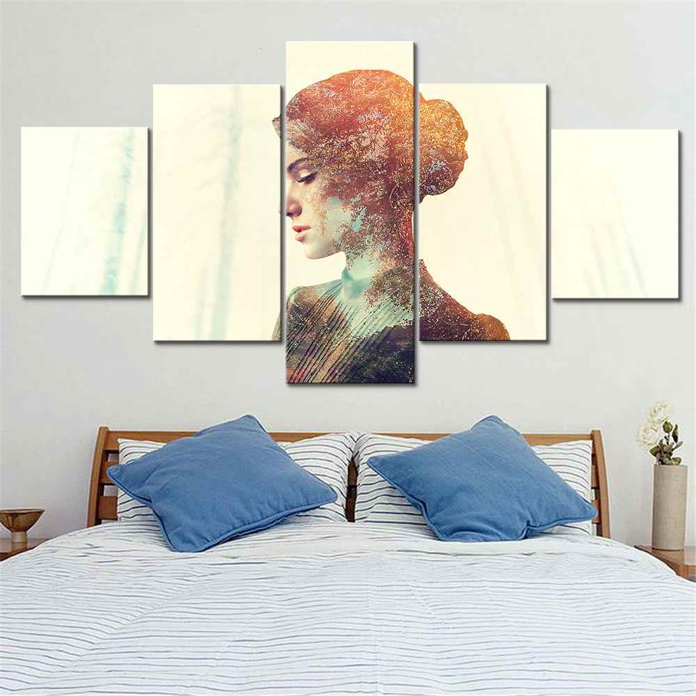 HD Prints Abstract Posters 5 Set Beautiful Woman Modular Pictures Watercolor Scenery Canvas Painting Bedroom Home Decor Wall Art