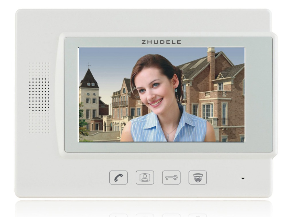 ZHUDELE 7 Inch Display Wired Video Door Phone Touch button Monitor Doorbell Intercom kit luxury indoor unit support ip camera