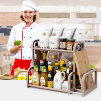 1 Pc Simple Double Layer Multi Function Shelf Condiment Knife Chopping Board Shelf Kithchen Storge Rack
