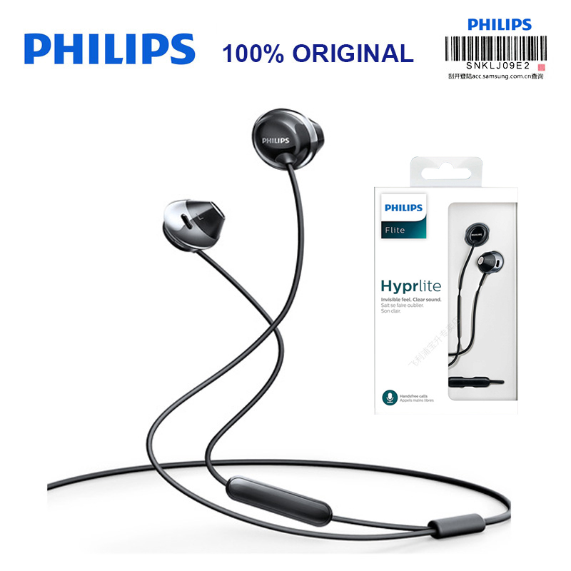 Original Philips SHE4205 Wired Earphone with In-Ear Sports Microphone Earphone for Galaxy S9 S9 Plus Official Verification philips she4205 black