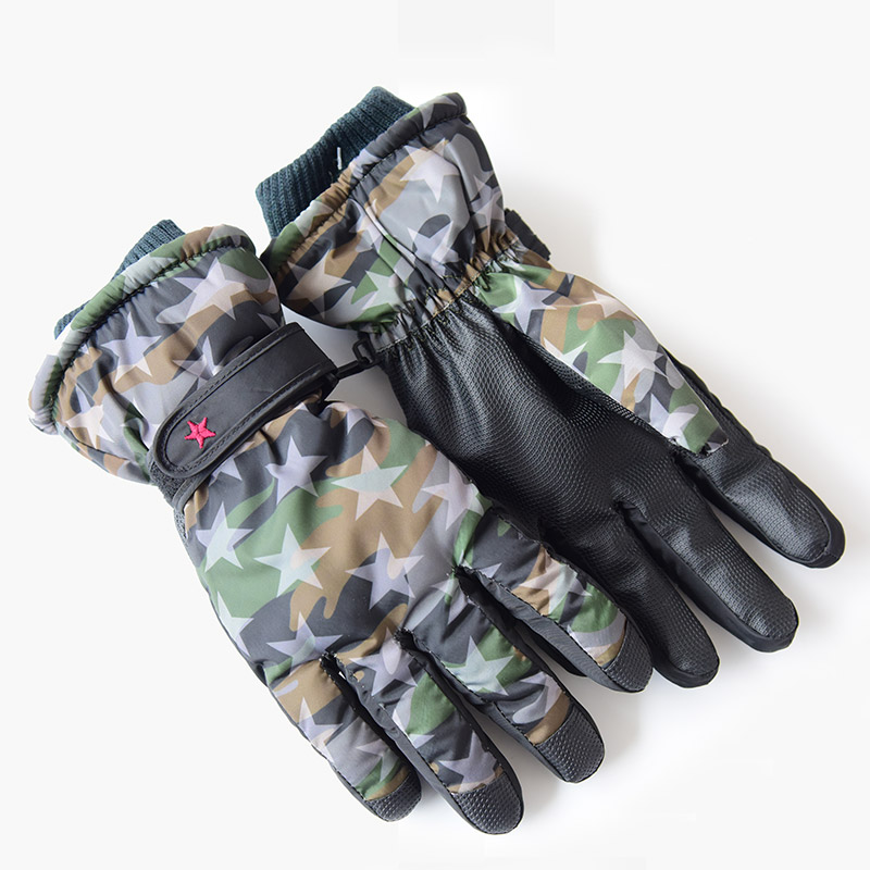 Skiing gloves warm female gloves wool knitted wrist gloves snowflake pattern full finger riding mittens Camo Thermal Ski Gloves