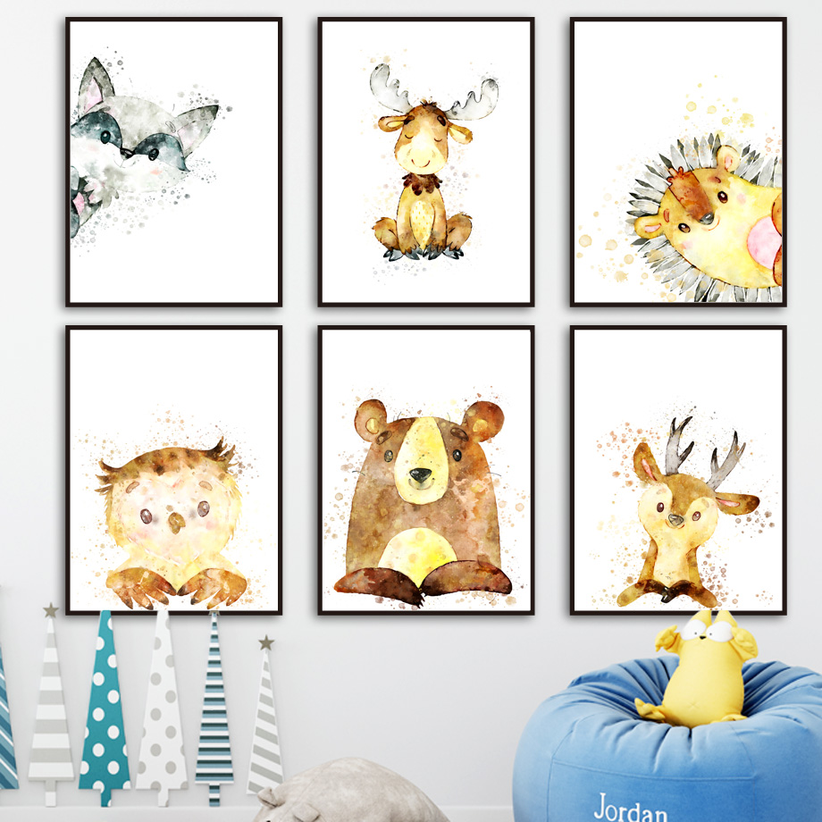 Watercolor Raccoon Deer Elk Bear Owl Wall Art Canvas Painting Nordic Posters And Prints Nursery Wall Pictures Kids Room Decor in Painting Calligraphy from Home Garden