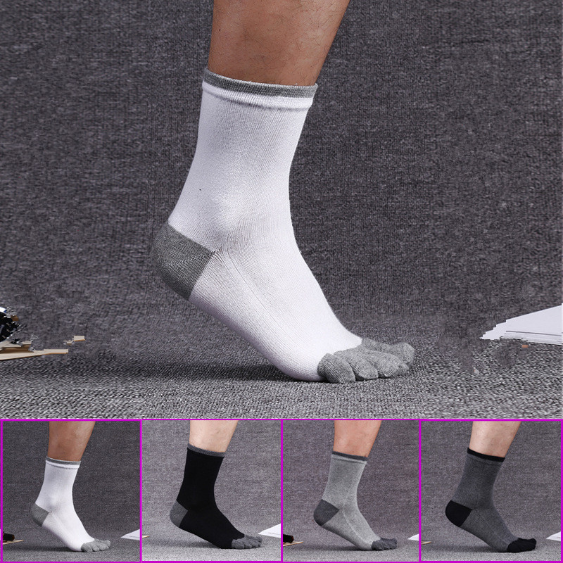 4 pairs 100% cotton socks men funny long Five toe socks Against the stench absorb sweat Elastic size mens socks Free shipping