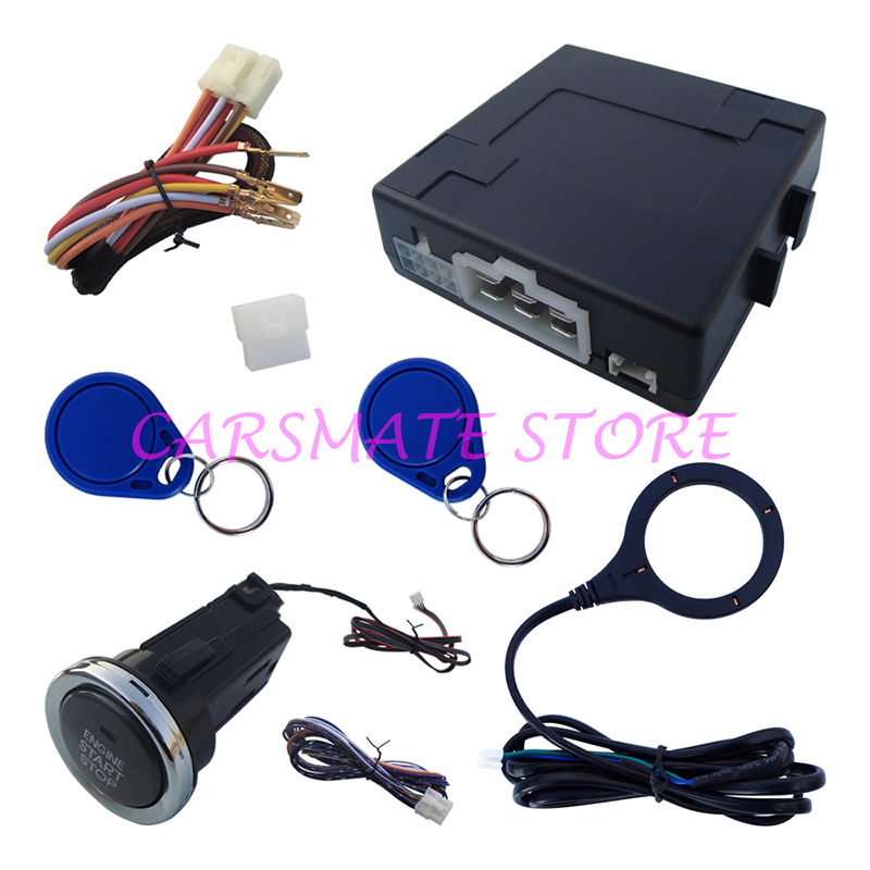 Modèle d'alarme de voiture RFID de qualité avec Long bouton de démarrage et 2 immobiliseurs à transpondeur adaptés à toutes les voitures DC 12 V