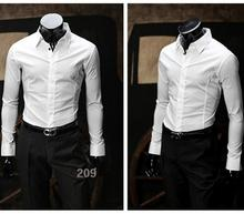 Formal men's shirt business high quality wedding men best man long sleeve shirt pure color single-breasted style men's shirts