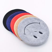autumn and winter new smiling face embroidered wool beret painter hat lady fashion warm bud girls women french