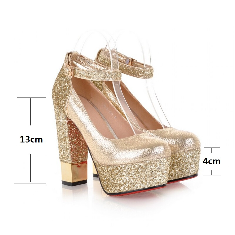Small Big Size 42 Gold High Heel Shoes Women Pumps Red