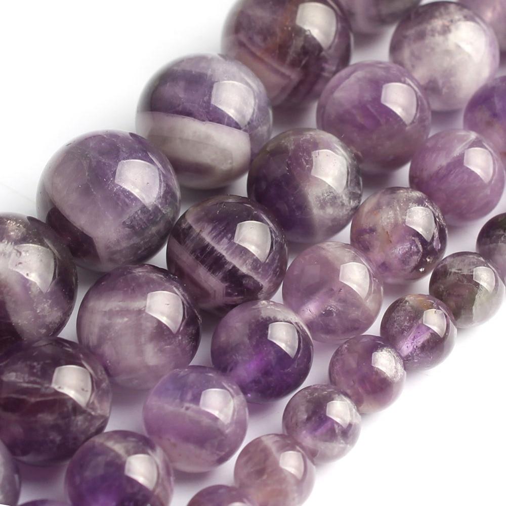Natrual Flower Amethyst Stone Beads 8/10/12mm Purple Crystal Stone Beads For Jewelry Making Bracelet Necklace 15inchesNatrual Flower Amethyst Stone Beads 8/10/12mm Purple Crystal Stone Beads For Jewelry Making Bracelet Necklace 15inches