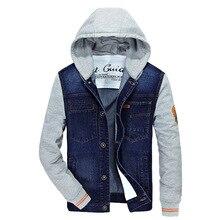 ZHAN DI JI PU бренд размера плюс 4XL мужские джинсовые куртки с капюшоном и воротником 120