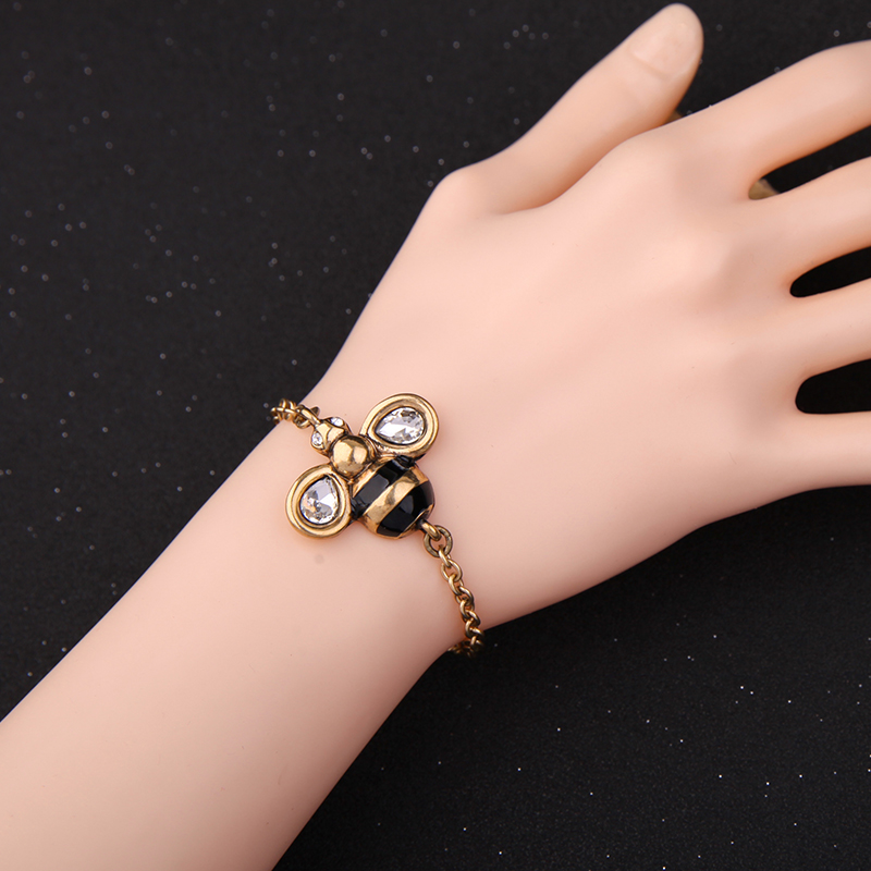 Wholesale Insect Jewelry Antique Gold Color Chain Crystal Bee ...