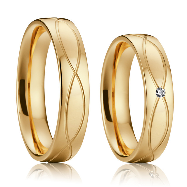Gold Color Promise Wedding Band Anniversary Ring men Lovers Alliances Bridal Engagement Couple Rings for women