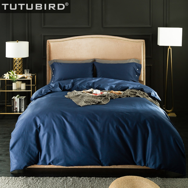 TUTUBIRD Solid Egyptian Cotton bedding sets bed linen sheets 100% Natural cotton Roy blue red blond purple bedclothes 4pcs