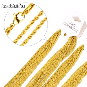 LUXUKISSKIDS Gold Plating 316L Stainless Steel Necklace Chain for Men and Women Gold/Silver Rope Chains Necklaces High Quality