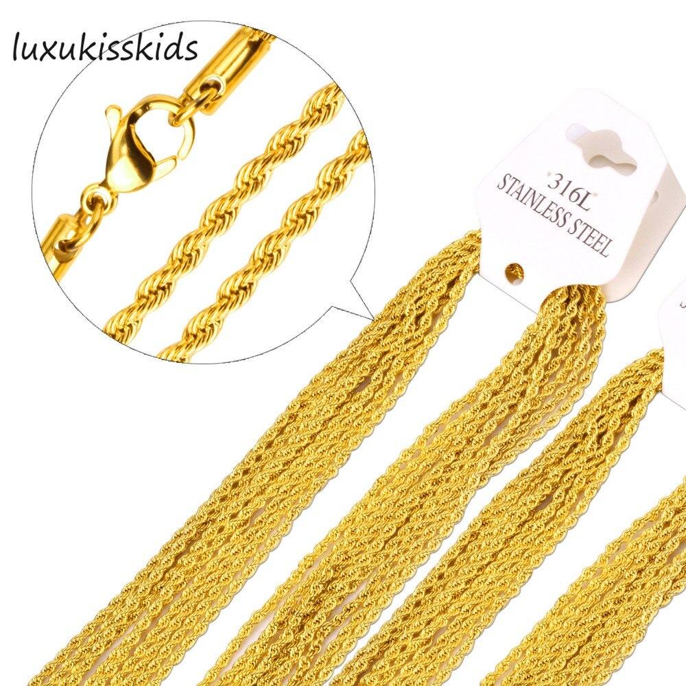 33db5983ebfe Lujo niños chapado en oro 316L Acero inoxidable collar cadena para hombres  y mujeres oro plata cuerda cadenas collares de alta calidad
