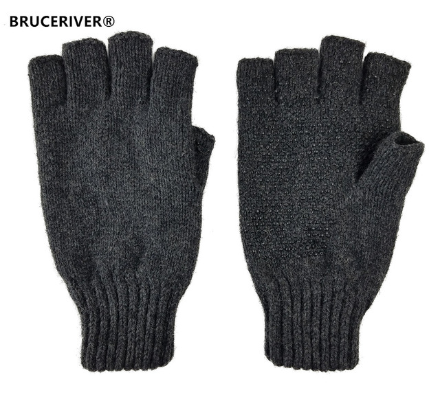 ba8fdd909b31d Bruceriver Men s Wool knitted Fingerless Ragg Gloves with Thinsulate Lining