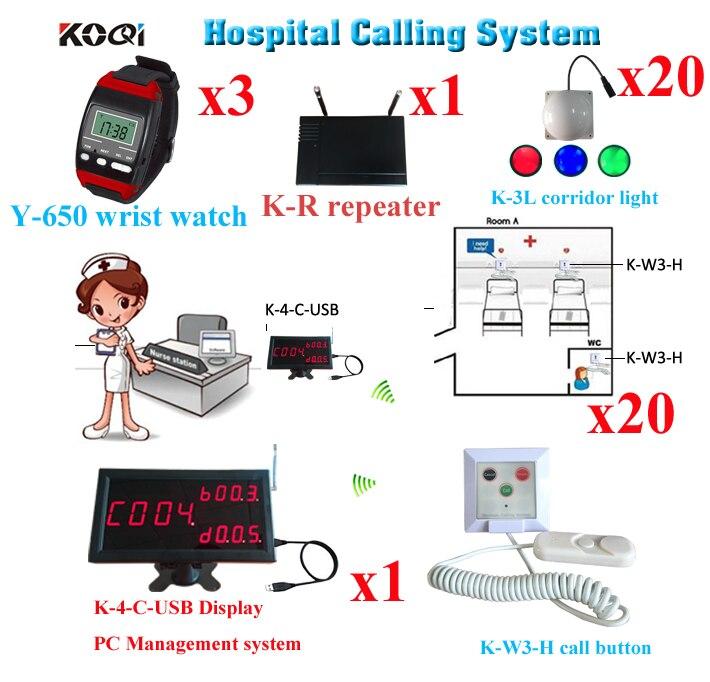 D'allaitement sans fil Appelant la Cloche Système Équipement Hospitalier De 1 pièces K-4-C-USB 3 20 Couloir Lumière 20 pièces Bouton 1 répéteur