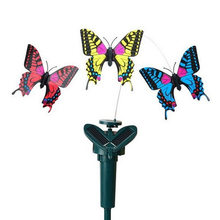 Solar Powered Electric Rotating Dog Toys Simulation Butterfly Bird Decorative Pet Funny Toys For Garden Lawn Cat Catcher Toy(China)