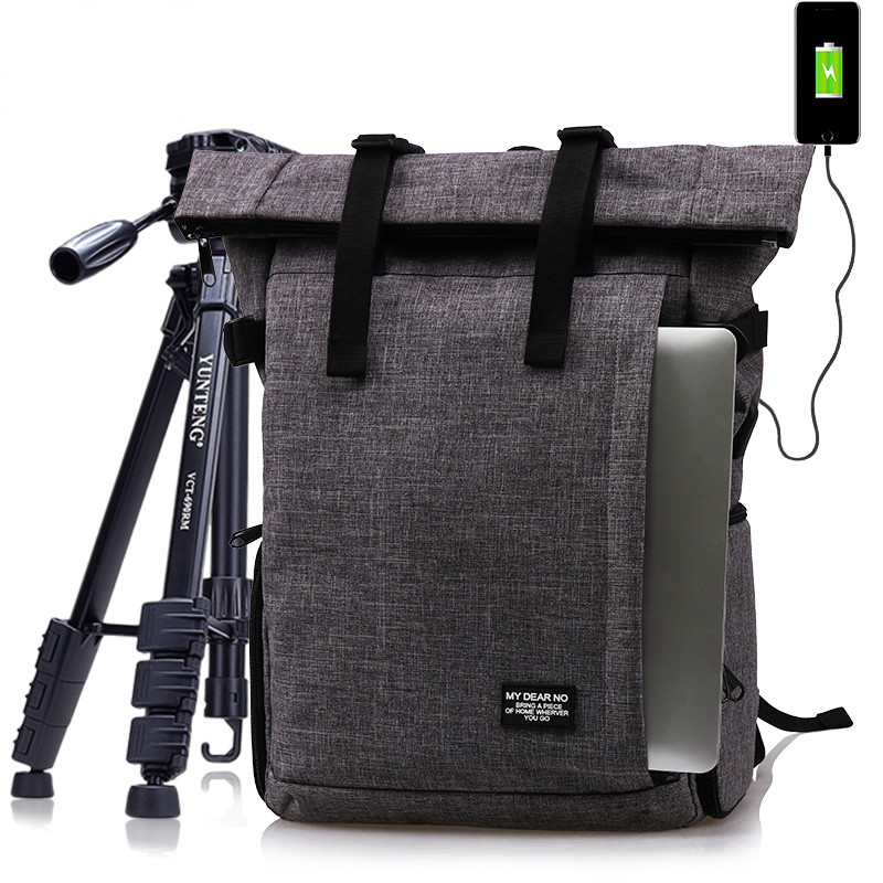 Photo Multi-functional Waterproof Polyester DSLR Camera Shoulders Backpack Soft Padded Bag fit 15inch Laptop Case w/ USB Port