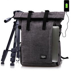 Photo Multi-functional Waterproof Polyester DSLR Camera Shoulders Backpack Soft Padded Bag fit 16inch Laptop Case with USB Port