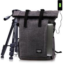 صور متعددة الوظائف مقاوم للماء حقيبة من البوليستر ث/منفذ USB DSLR كاميرا الكتفين على ظهره حقيبة لينة مبطن صالح 15 بوصة كمبيوتر محمول