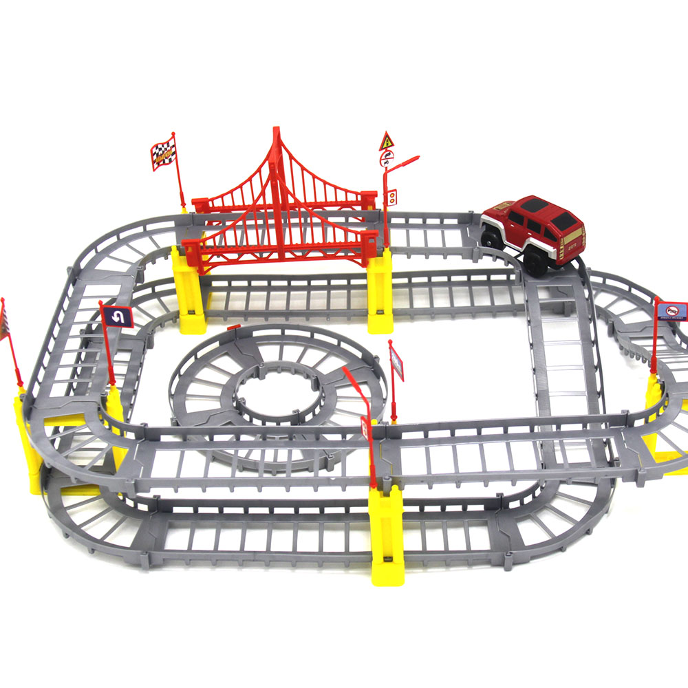 Magical Railway Road Spor Legetøj DIY Variety Electric Speed ​​Car Train Model Montering Racing Rail Spor Bil Toy For Children