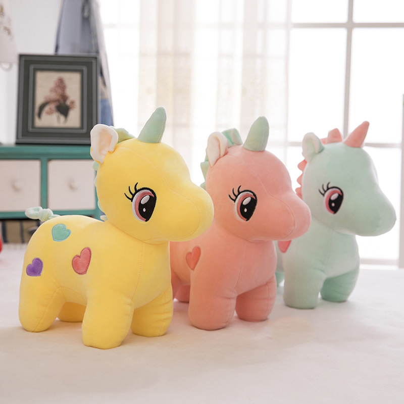Unicorn Kids Toys Cartoon Stuffed Animal Fluffy Toy Children Favorite Cute Soft Doll Plush Gifts For Boy Girl Pink Yellow