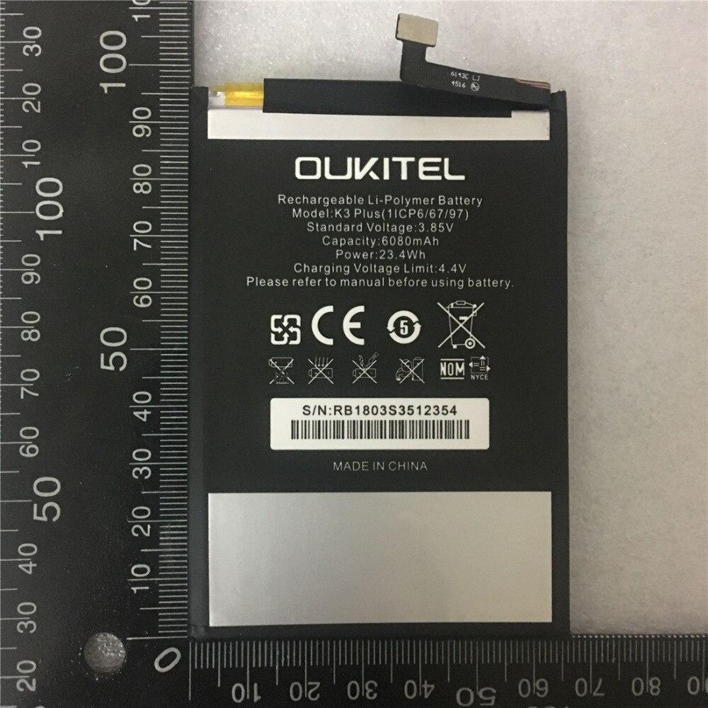 Batería del teléfono móvil real OUKITEL K3 batería 6080 mAh tiempo de espera largo alta capacidad OUKITEL accesorios para móviles