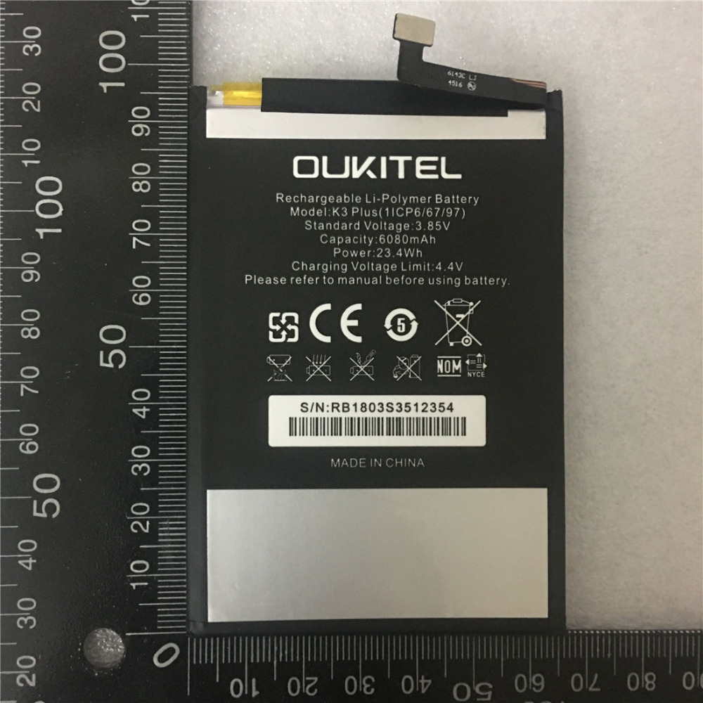 Mobile phone battery real OUKITEL K3 PLUS battery 6080mAh Long standby time High capacit OUKITEL Mobile AccessoriesMobile phone battery real OUKITEL K3 PLUS battery 6080mAh Long standby time High capacit OUKITEL Mobile Accessories