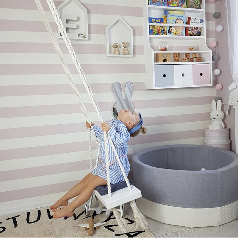 Nordic Wind Ins Explosive Wooden Indoor Children's Swing Children's Room Decorative Creative Toys Hanging Chair  Furniture
