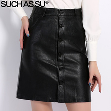 Fall Winter Skirts Women 2016 Brand Knee-Length PU Leather Skirt S M L XL XXL XXXL Plus Size Single-Breasted Black Skirt Female(China)