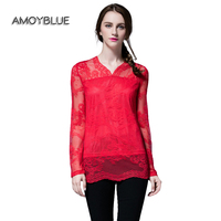 Amoyblue Sexy Women's T-Shirt Long Sleeve Red Crochet Hollow Out Lace Patchwork Polyester Ladies T-Shirt Tops Plus Size(L-5XL)