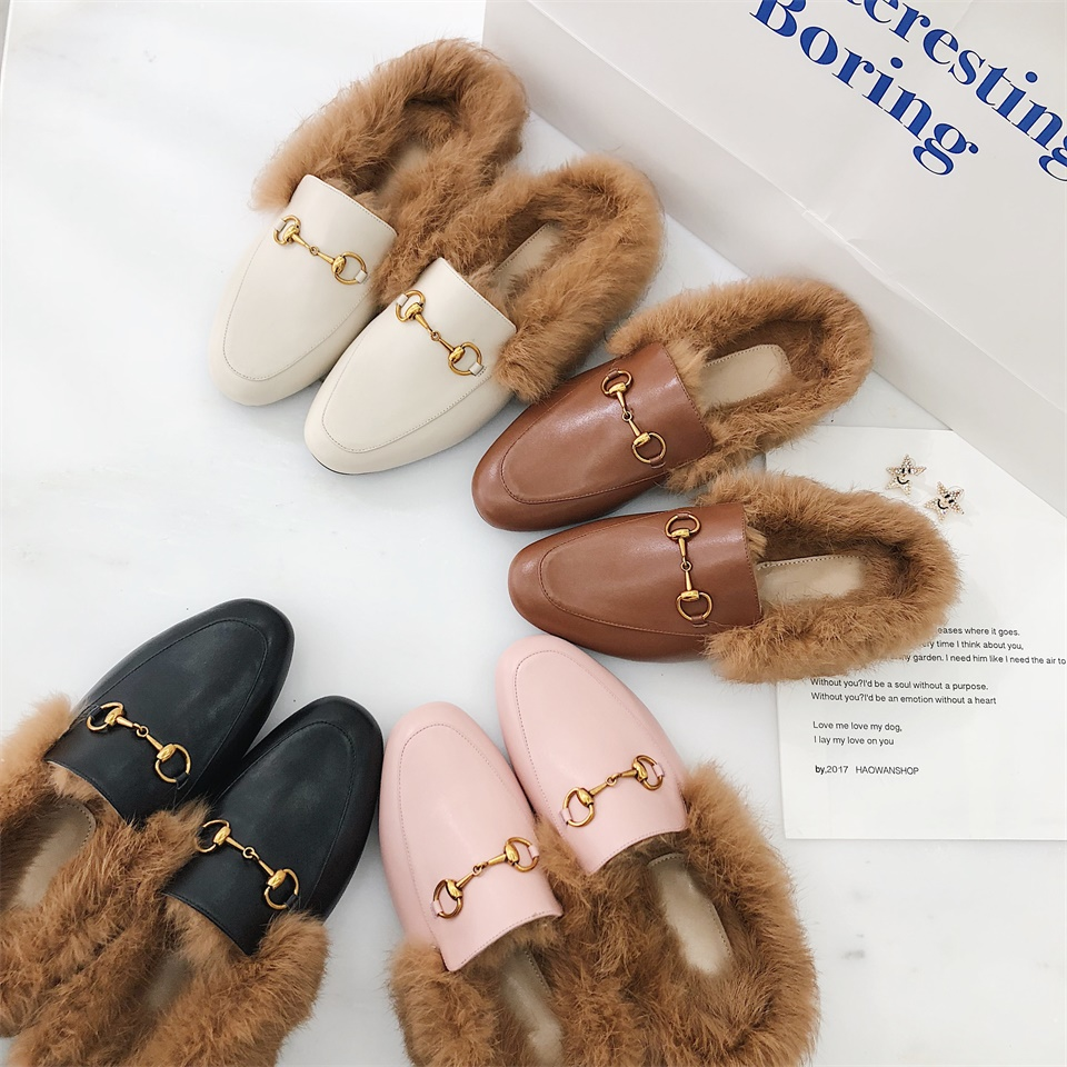 Women Autumn Winter Chains Mules Fashion Flat Heel Slip On Slides Real Cow Leather Real Fluffy Real Fur Slippers Loafer Women Sh faux fur trim loafer mules