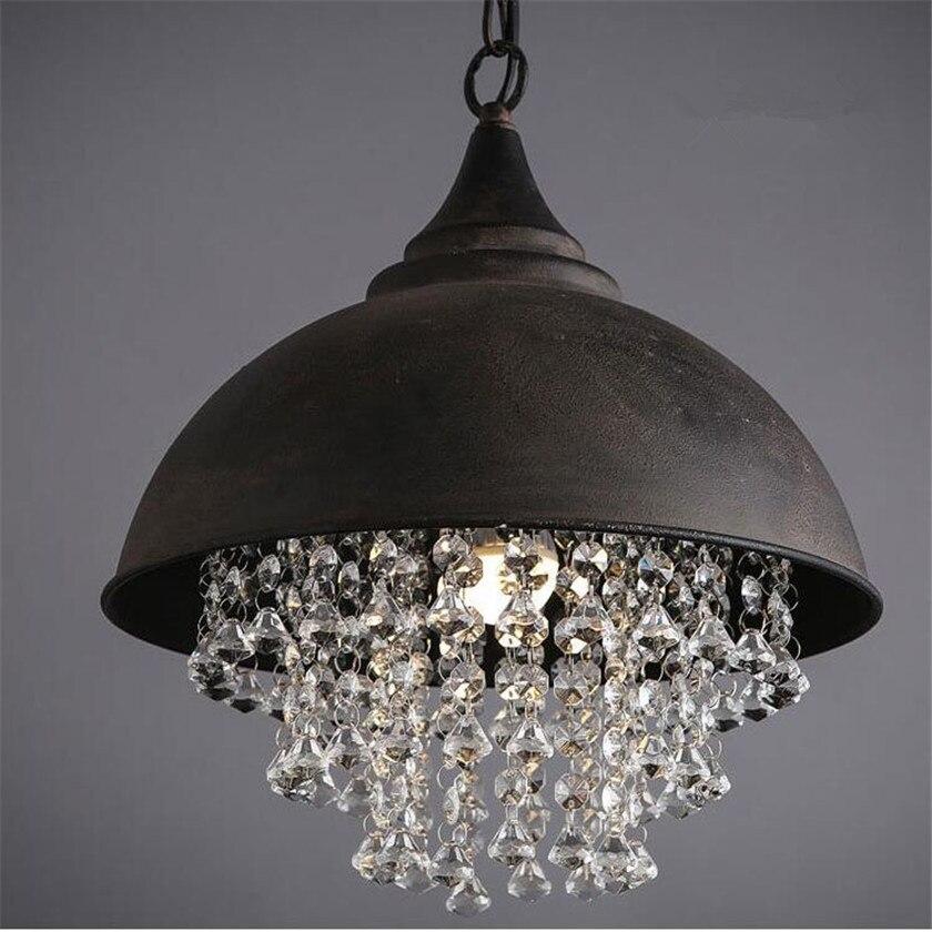 American Vintage Loft Pendant Lamps Crystal Iron Rust