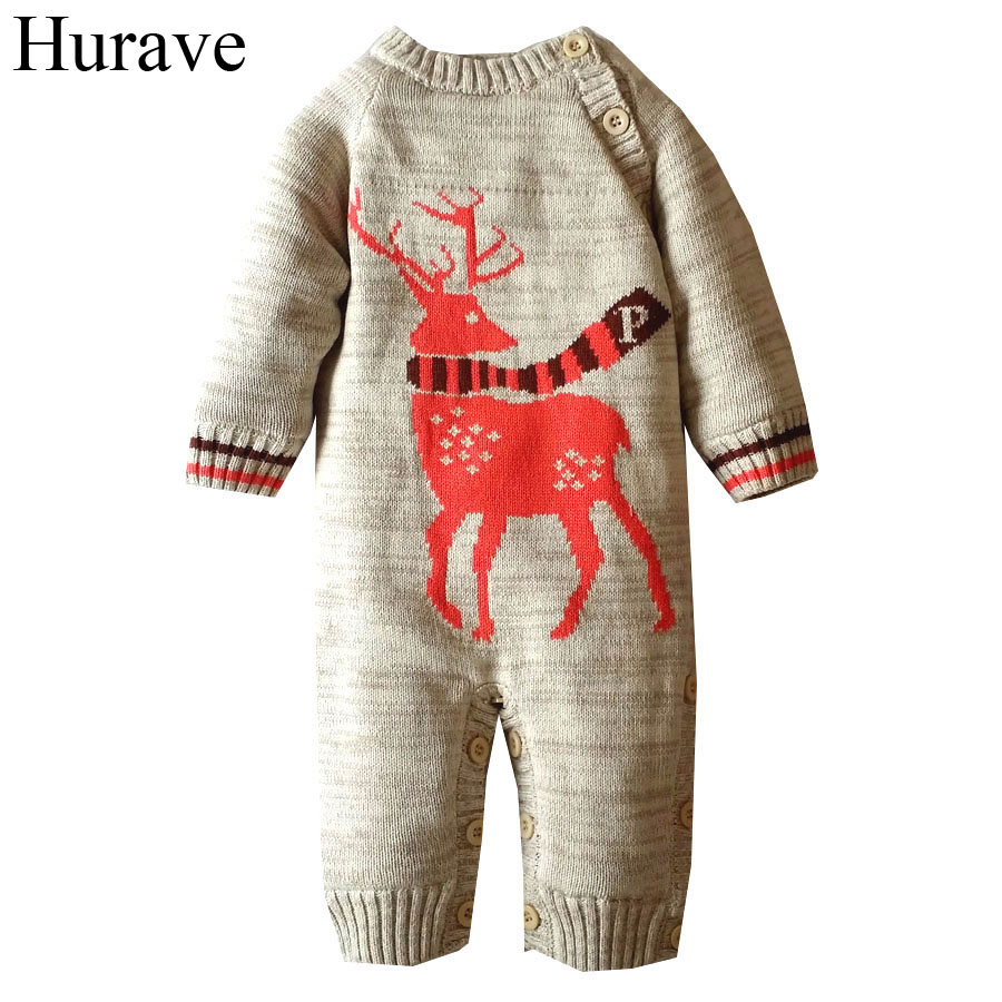 Hurave Newborn sweater Winter Baby Romper Deer pattern cashmere long sleeve infant boys and girls clothes шапка the north face the north face youth ski tuke разноцветный m