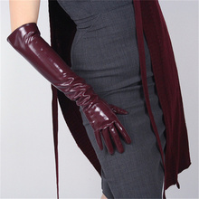 Fashion Ladies Long Patent Leather Gloves Simulation Bright Black Elbow Extra 50cm T12