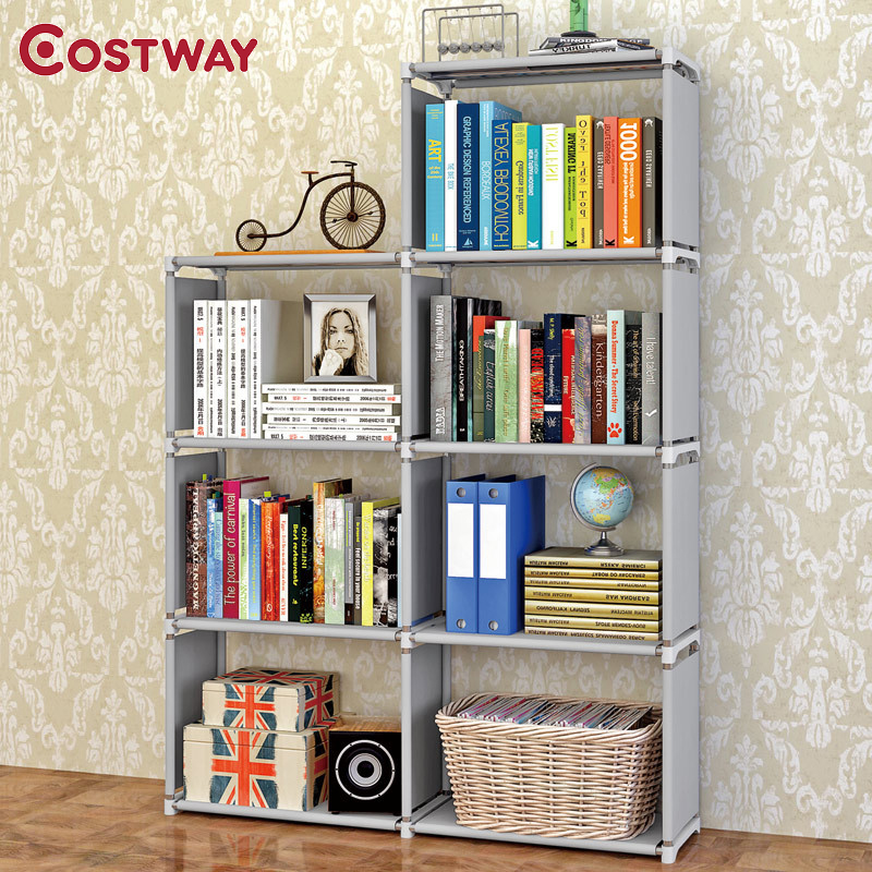COSTWAY Fashion Simple Non-woven Bookshelves Four-layer Dormitory Bedroom Storage Shelves Bookcase Boekenkast Librero W0284 360 degree rotation simple bookshelves multi storey floor bookcase shelves children s dormitory shelter
