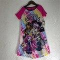 2017 Monstro Verão Ella Vestido de Princesa Crianças Vestido de Festa Meninas Ever After Alta Monstro Traje Vestido Da Menina Pijamas Roupas