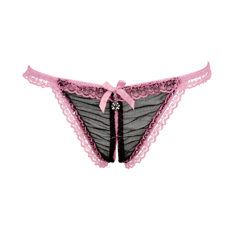 Buy Pendant Transparent Crotchless Panties Underwear Women Lace Thongs G Strings Sexy Women's G-String Briefs Tanga Sexy NK076#01
