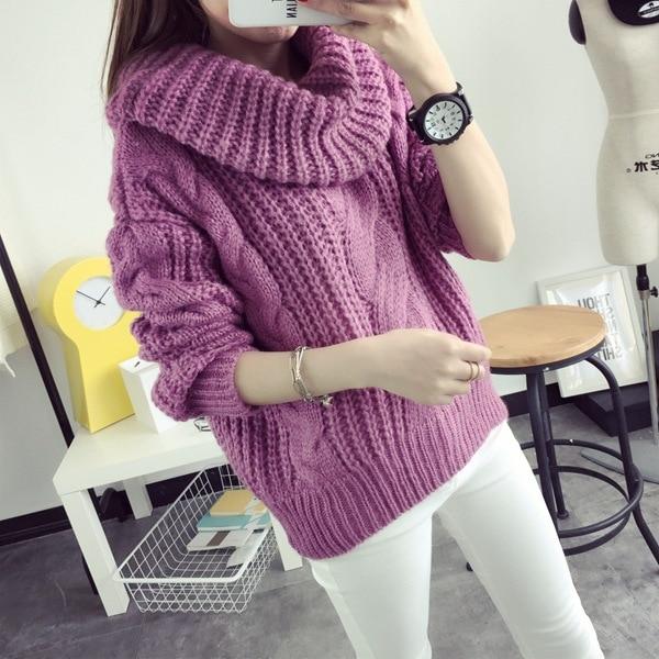 turtleneck women winter knitted