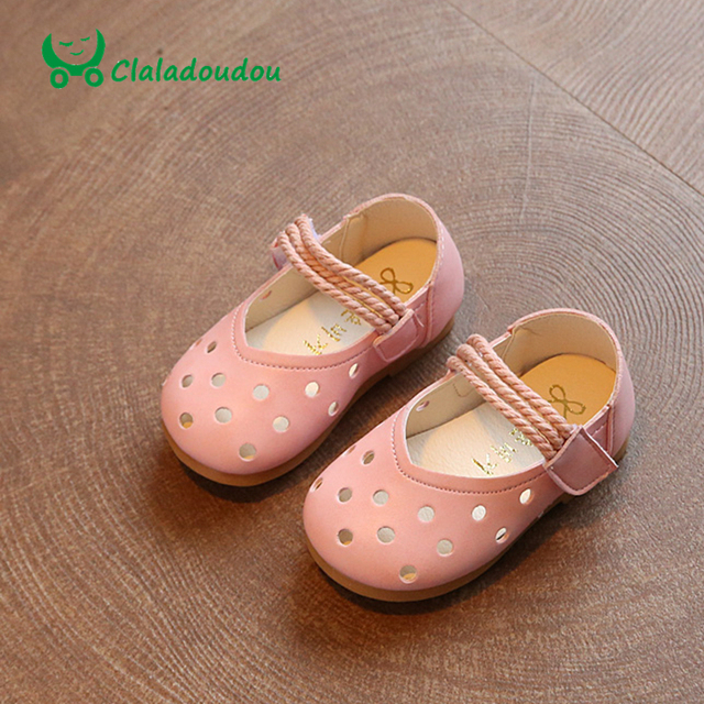 Claladoudou 2017 0-2Y Spring Summer Baby Girls Shoes Princess Hollow Infant Shoes Soft Bottom Toddler Shoes Little Girl Shoe