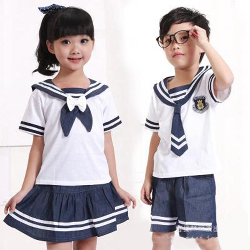 Children's Costumes Boys And Girls Small Naval Sailor Uniforms Primary School Pupils Chorus Reading Performance Suits