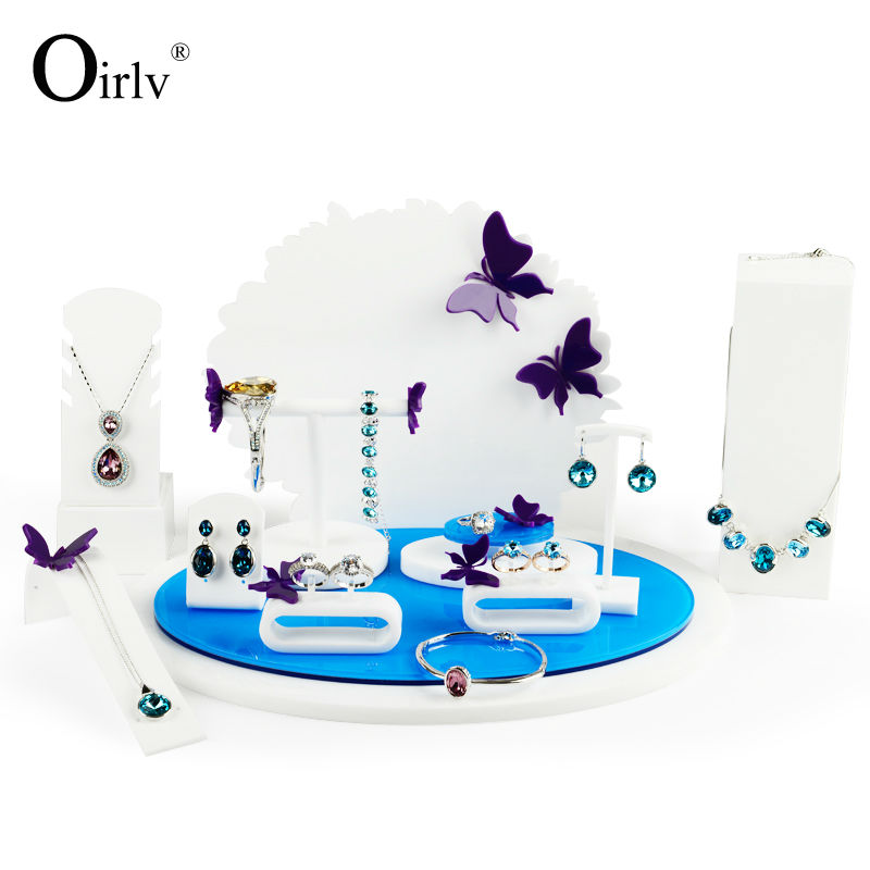 FANXI Fashion White Blue Acrylic Jewelry Display Set Removable Pad Free Match Combination Stand Shop Showcase Exhibitor showcase presents blue beetle volume 1