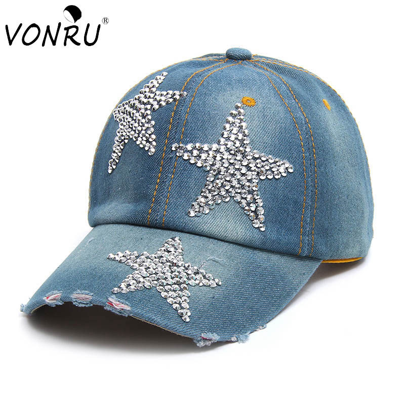 High Quality Fashion Baseball Hat Caps Sunshading Men Womens Baseball Cap Rhinestone Hat Denim Cotton Snapback Cap