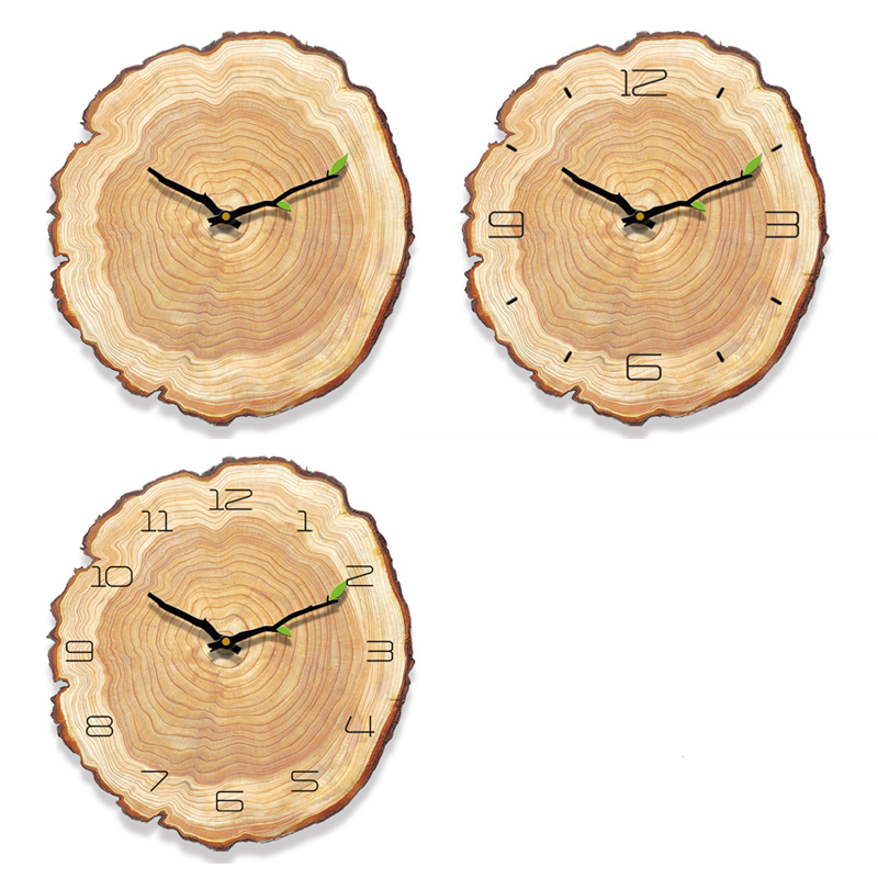 Classic pastoral style imitation wood grain home wall clock Brief art home wall decoration antique style clock