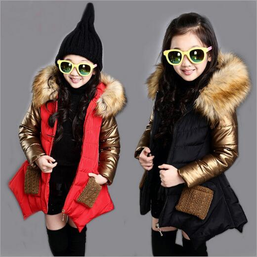 Girls Winter Coat New 2017 Brand Plus Thick Velvet Floral Padded-Cotton Fashion Fur Collar Hooded Long Jacket Children Clothing new women winter down cotton long style jacket fashion solid color hooded fur collar thick plus size casual slim coat okxgnz 910