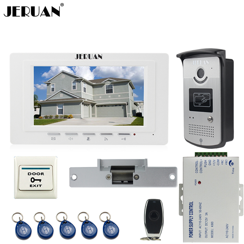 JERUAN new 7`` LCD  Video Door Phone System 700TVT Camera access Control System+Cathode lock+Remote control Unlock jeruan black 8 lcd video door phone system 700tvt camera access control system cathode lock remote control 8gb card