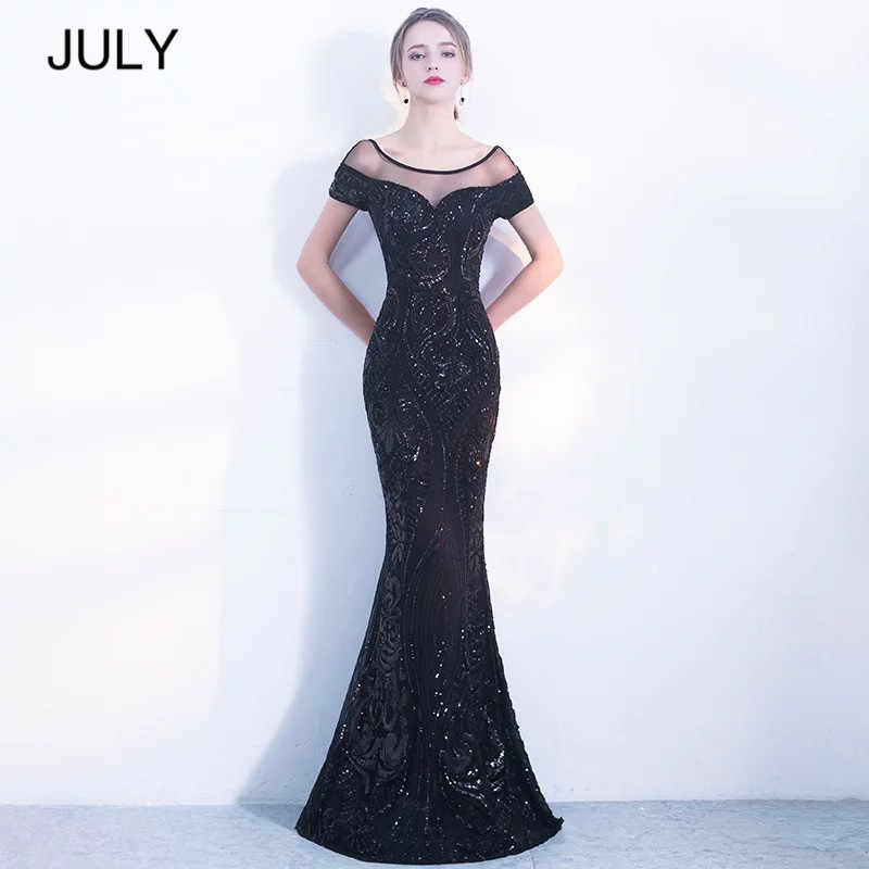 JULY элегантные длинные платья с открытой спиной простое черное вечернее платье с пайетками 2019 Новое высококачественное платье Robe De Soiree